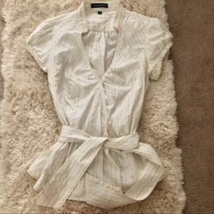 Express size M tie blouse in gold silver and cream